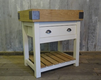 Bespoke Oak Top Butchers Block Kitchen Islands With Drawer Delivery  Available