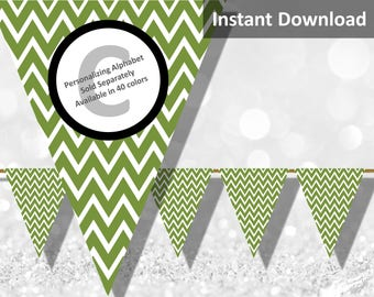 Olive Green Chevron Bunting Pennant Banner Instant Download, Party Decorations