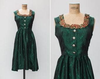 1960s Dress - Vintage 60s Green Brocade Taffeta Ruffle Dress - Turmalina Dress