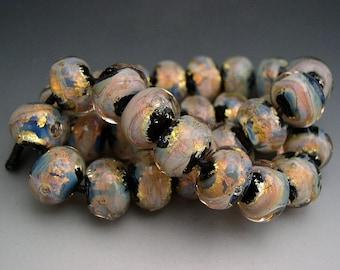 Naos Glass MEGA Fire Opals 30 Bead Set Made To Order Handmade Lampwork Beads SRA Black Orange Blue Gold Tones Opalescent