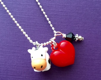 Necklace Moo-velous Cow black and white 3D resin bovine with red heart charm farm animal girls kids tween teen birthday jewelry cow gift