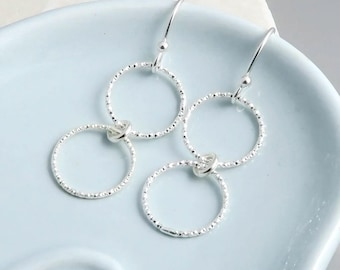 Double Circle Earrings, sterling silver, linked circles, sisters, best friends, mother daughter