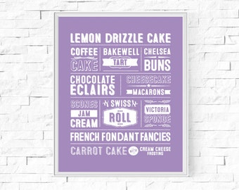 "Printable Great British Cakes & Baking Typography Print - Word Poster - Kitchen Decor - Instant Download - Wall Art - 8""x10"" and A4."