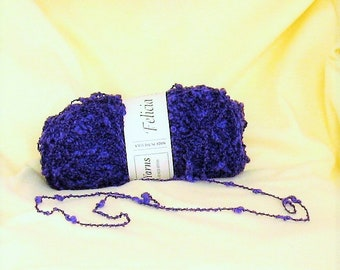 Ironstone Yarn, Felicia 303, purple, boucle, threadsinthebed, destash yarn,
