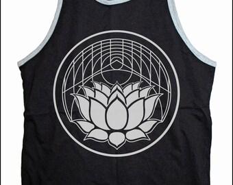 Men's LOTUS Geometric Design Tank Sacred Geometry Tattoo Style Lotus Flower Sleeveless Tank Top