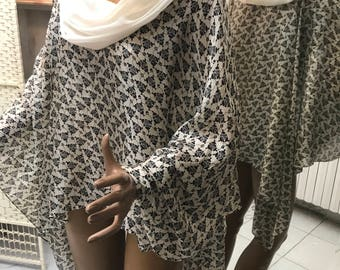 Blusante 100% pure silk caftan with cowl neck finished entirely by hand