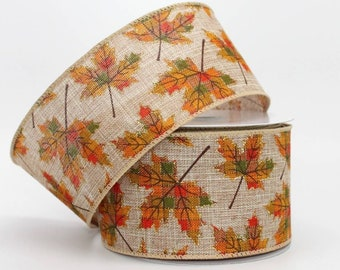 10 yards Plaid Leaves Rustic Fall Wire Edge Ribbon - Ribbon for Wreaths, Fall Wreath Ribbon, Fall Ribbon