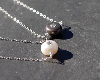 Delicate and Dainty White or Black Pearl and Swarovski Crystal Necklace