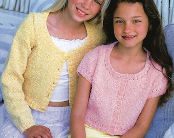 girls cardigans knitting pattern cotton cardigans 22-32 inch DK Cotton Yarn childrens knitting pattern PDF Instant download