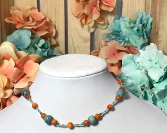 Necklace, Orange And Teal