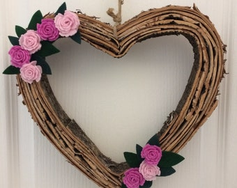 Wood Heart with Felt Flowers
