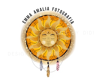 Apothecary logo, Sun mystical logo design apothecary, magic sun feathers logo, sun boho logo, mystical apothecary logo, sun logo design