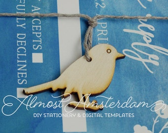 Wooden Bird Decorations for Watercolor or Spring Invitations - DIY Wedding Invitations - Invitation Decorations - Embellishments