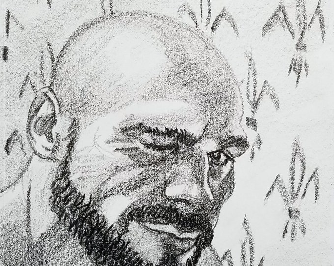 Cue Ball, 9x12 inches crayon on paper by Kenney Mencher