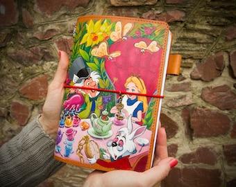 Alice in Wonderland Travelers Notebook Leather Journal - Wonderland Tea Party - Alice in Wonderland Art