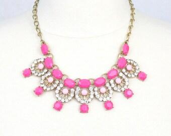 Pink Rhinestone Necklace Cabochon Statement Necklace Fuchsia Necklace