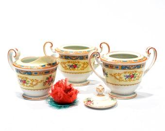 ANTIQUE: 1947 - Noritake Sugar and Creamer Set - Floral Pattern Creamer - Table Decor