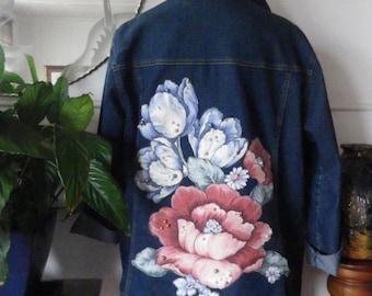 Preloved denim jacket with pearl embellished floral back panel
