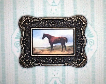 Miniature 1:12 Dollhouse Painting - Richard Ansdell - A Chestnut Hunter in a Landscape