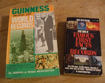 1974 Guinness Book of World Records & 1976 Kane Book of Famous First Facts and Records - Vntage Books