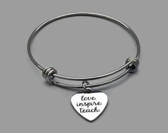 Teacher Charm Bangle, Teacher Charm Bracelet, Love Inspire Teach, Teacher Jewelry, Teacher Gift, Teacher Appreciation Gift, Stainless Steel
