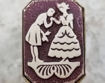 Delightful Folk Art Picture Sewing Button ~ Man Kissing Lady's Hand Pictorial ~ White on Dark Red Burgundy ~ 3/4 x 1/2 Inch or 18mm x 13mm