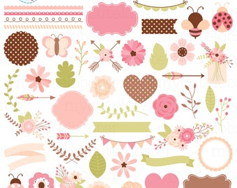 Floral Clipart Set - digital elements - flowers, banners, frames, bunting, clip art - personal use, small commercial use, instant download