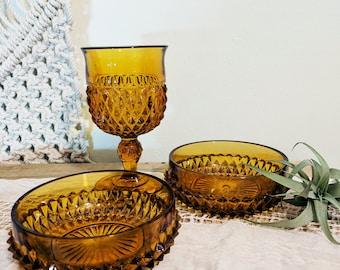 Amber Glass Bowl / Diamond Amber Bowls / Exotic Decor
