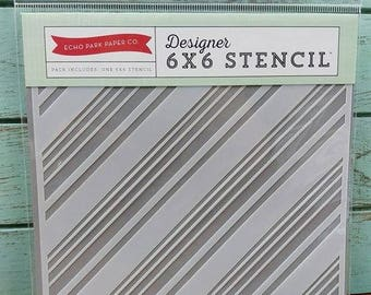 Echo Park Designer 6x6 Stencil DIAGONAL STRIPES
