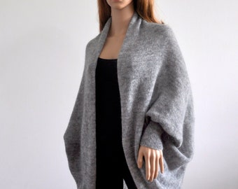 Cocoon grey coat Batwing Brown Cardigan with long sleeves Cozy Knit loose cardigan oversized shrug for women Boho Sweater  wrap jacket Wool