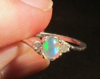Natural Opal Sterling Silver Ring Accented with Diamonds