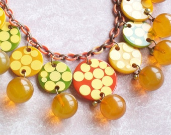 Rare Bakelite Dot Necklace with Apple Juice Beads