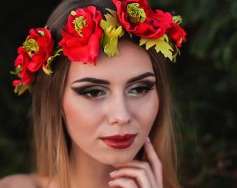 Bridal Poppy Crown Wedding Headpiece Ukrainian Bride Ethnic Wreath Gift Red Flower Summer Bridal Handmade Flowers Headband Festival Event