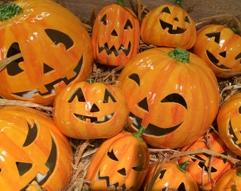 Ceramic Halloween Pumpkin Lantern (large)