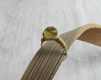 Lemon Quartz 14K Gold Filled Handmade Gem Wrapped Ring