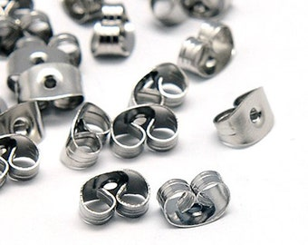 40 Earrings Backs - Stainless Steel Ear nuts  - FD168
