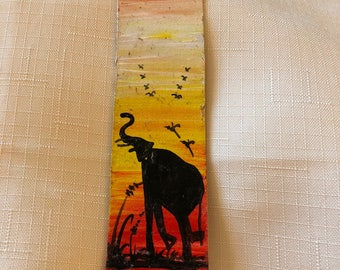 Hand painted leather bookmark - elephant - bkmk2-12