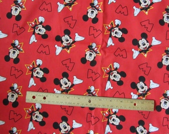 30 x 44 Inches Red/Black  Mickey Mouse Toss Cotton Fabric