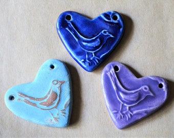 3 Sweet Ceramic Bird Heart Pendant Beads in 3 unique glazes - Sweet Spring Songbird - Shabby Chic Boho Style - Wedding Gift - Valentine Gift