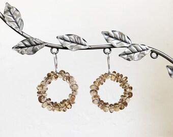 Natural AAA Citrine and Sterling Silver Beaded Hoop Drop Lever Back Earrings November Birthstone