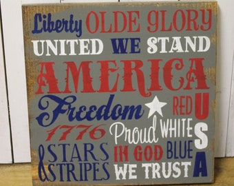 4th of July Subway Style Sign/Americana Sign/Holiday Decor/Red/White/Blue/Gray/July Decor/Wood Sign/Hand Painted/Wood Sign
