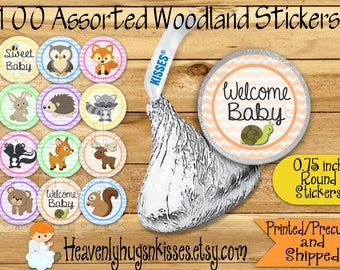100 Chocolate kiss sticker Girl Woodland labels Woodland Chocolate Sticker Wilderness Kisses Labels Thank you Party Favor Wilderness sticker