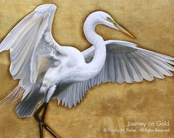 Contemporary Egret Painting Reproduction • JOURNEY on GOLD • Tropical Bird • White Bird Art • Egret Art Print • Great White Egret