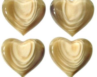 1x Vintage Italian Bead / Pendant Lucite Wood Grain-effect Heart 4cm 40mm