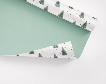 5x Geschenkpapier / Tanne