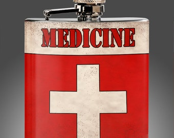 Medicine Flask - Vintage Whiskey Flask, 21st Birthday, tequila, Liquor, Funny Gifts - womans Stainless Steel 6 oz Liquor Hip Flask
