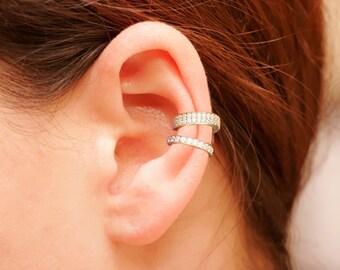 18K Gold Ear Cuff Set , Pave Ear Cuffs , Non Pierced Ear Cuff, Ear Wrap, Set Ear Cuffs , Latest Fashion
