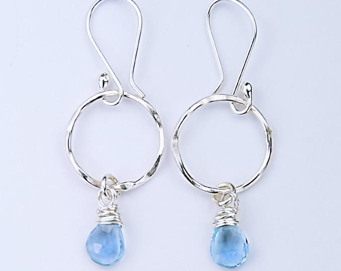 Sterling Silver Topaz Earrings, December Birthstone Earrings, Blue Stone Earrings, Blue Gemstone, Bridesmaid Topaz Earrings, Blue Stone Gift