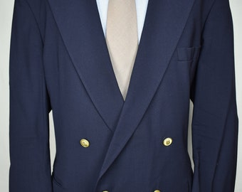Southampton Solid Navy Blue 100% Wool Double Breasted Blazer Men's Size: 48L