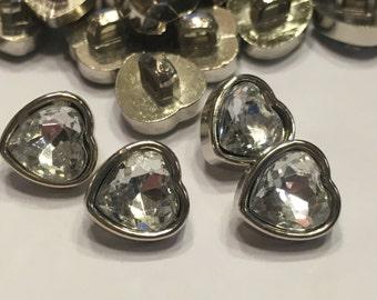 10 heart shaped acrylic rhinestone buttons, 10 mm (B7)